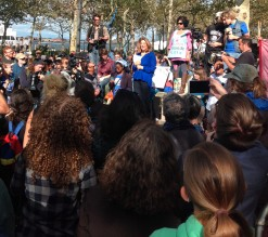 Naomi Klein fires up the crowd before they march off to try and FloodWallStreet.